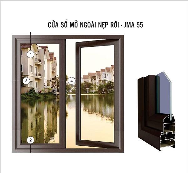 cửa sổ mở quay jma hệ 55