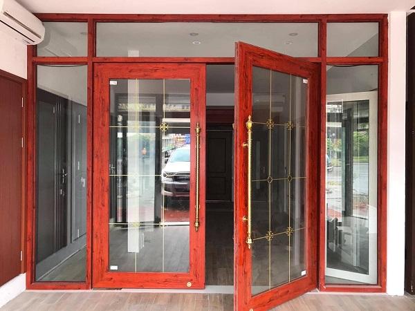 cửa nhôm kính giả gỗ cao cấp